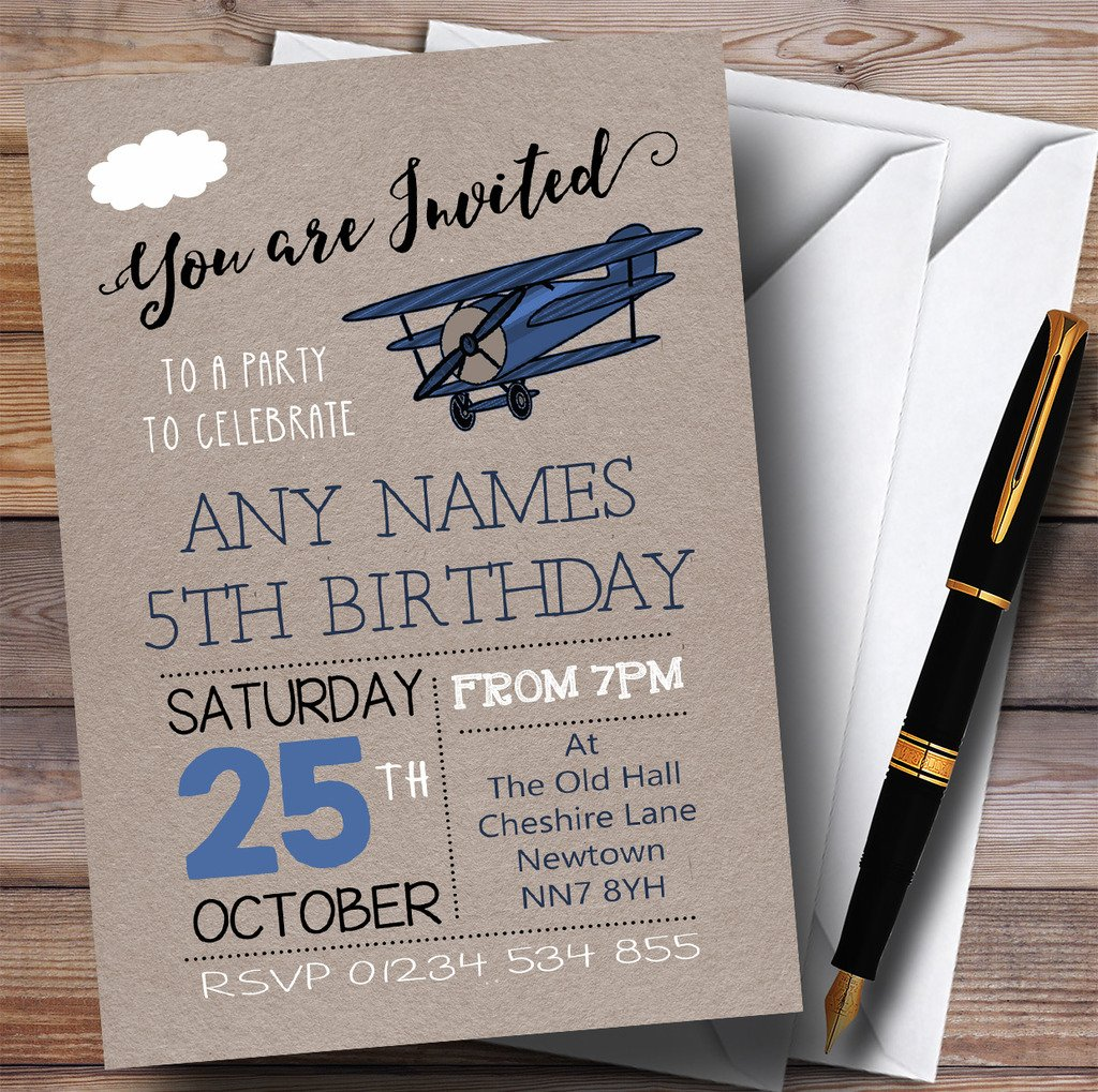 Blue Vintage Aeroplane Cloud Childrens Birthday Party Invitations