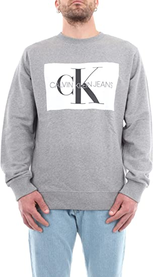 Calvin Klein Jeans Men's Flock Monogram Sweatshirt, Grey at