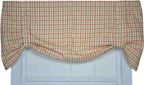 Charlestown Check Tie Up Valance Window Curtain, Watermelon