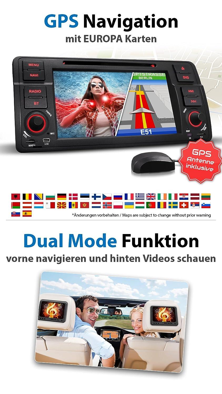 XOMAX XM-46B Radio de Coche Adecuado para BMW + coche/con navegador GPS Naviceiver + incluye Software de Europa + Bluetooth manos libres + 18 cm/7 ...