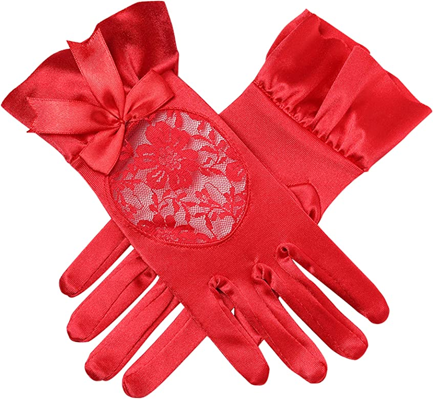 BABEYOND Womens Short Gloves Satin Bowknot Gloves for Wedding Opera Party 1920s Flapper Stretchy Gloves Adult Size