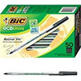 BIC Ecolutions Round Stic Medium Ballpoint Pen (1.0mm) 50-Count Box, Black (GSME509-BLK)