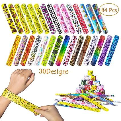Fullsexy 84 Pcs Slap Bracelets Party Favor Pack 30 Design Colorful Bands
