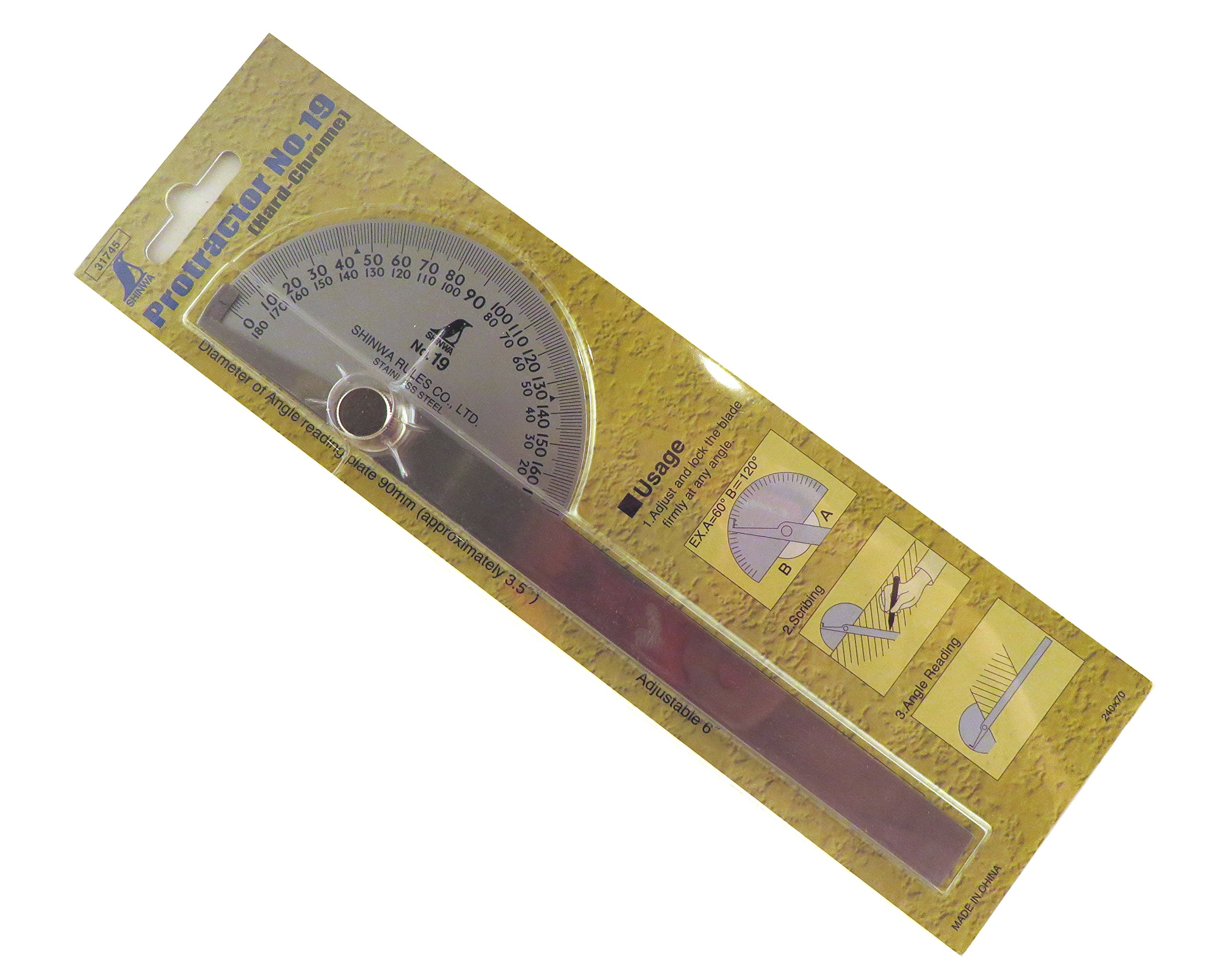 Shinwa Japanese #19 Stainless Steel Protractor 0-180 degrees with Round Head by Shinwa (Image #3)