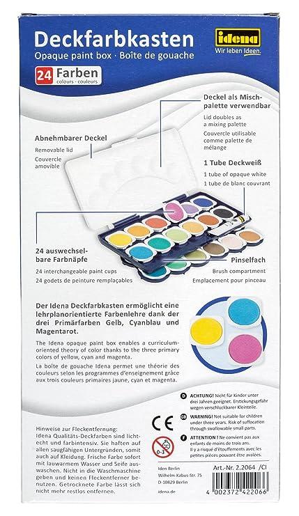 Idena 22061 - Deckfarbkasten mit 12 Farben und 1 Tube Deckweiß ...