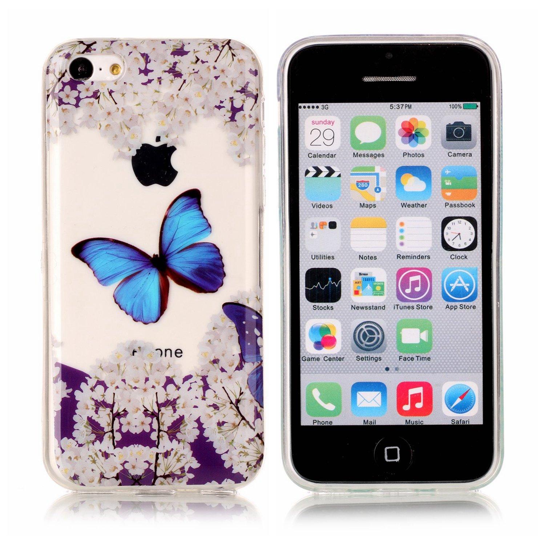 Cover iPhone 5C, Custodia iPhone 5C, Ysimee Trasparente guscio in TPU Custodia protettiva in silicone Ultra sottile premium flessibile Copertura mobile morbida Back case per iPhone 5C -Fiore di pizzo bianco