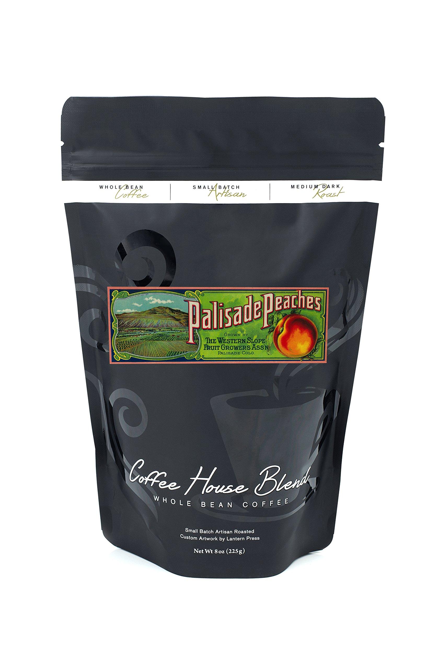 Palisade, Colorado - Palisade Peach - Vintage Label (8oz Whole Bean Small Batch Artisan Coffee - Bold & Strong Medium Dark Roast w/ Artwork)