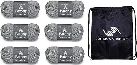 Ovillo de lana para tejer Patons Canadiana Solids, paquete de fábrica de 6 madejas (mismo lote de tinte) 244510 con 1 bolsa de proyectos Artsiga ...