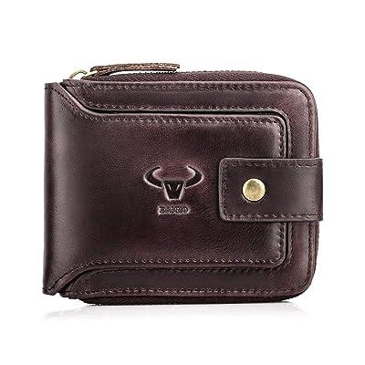 Genuine Leather Multi-Card Holder RFID Blocking Men/'s Business Zipper Wallet