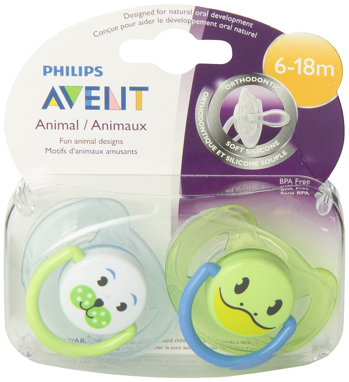 Amazon.com : BPA Animal Chupete, 6-18 meses, estilo y el ...