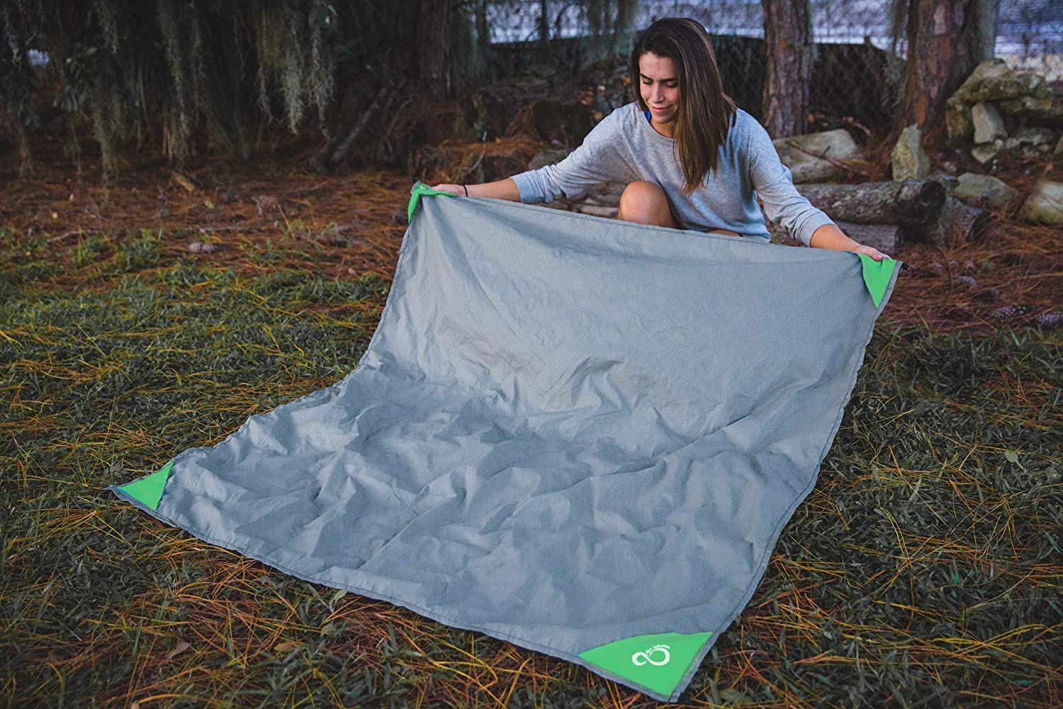 """Ground Stakes /& Carabiner Included 4 Corner Pockets Compact Outdoor Sand Proof Beach Blanket- 55/"""" x 60/"""" Pocket Sized Mat Waterproof Ground Protection /& Picnic Accessory- Quick Drying Nylon"""