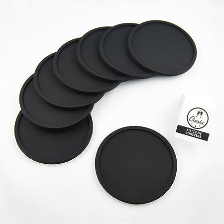 Coastee Siliconen Onderzetters 8 Stuks Zwart Glazen Onderzetter Set Voor Bar Woonkamer Keuken Amazon Nl