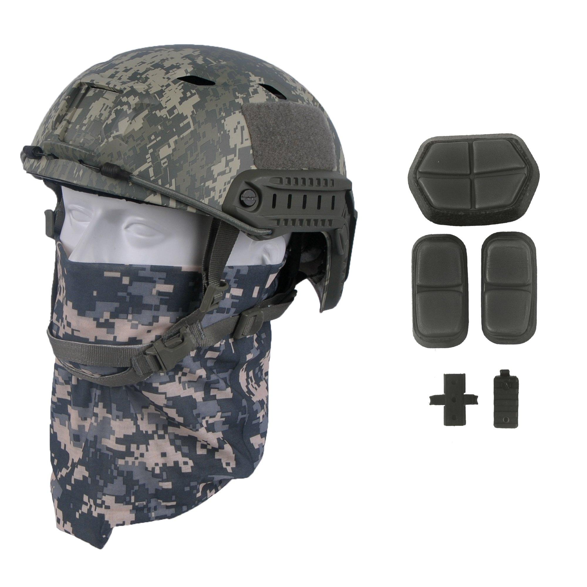 LOOGU Fast BJ Base Jump Military Helmet with 12-in-1 Headwear(ACU) by LOOGU