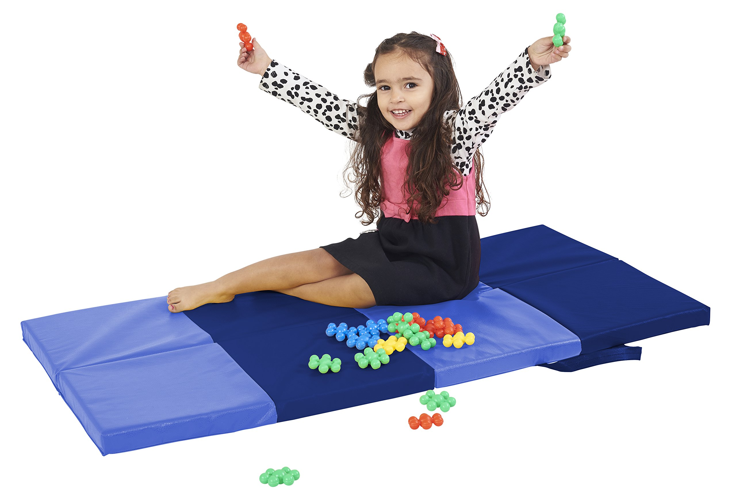 ECR4Kids SoftZone My Time Folding Activity Mat - Soft Foam Play for Kids, Blue