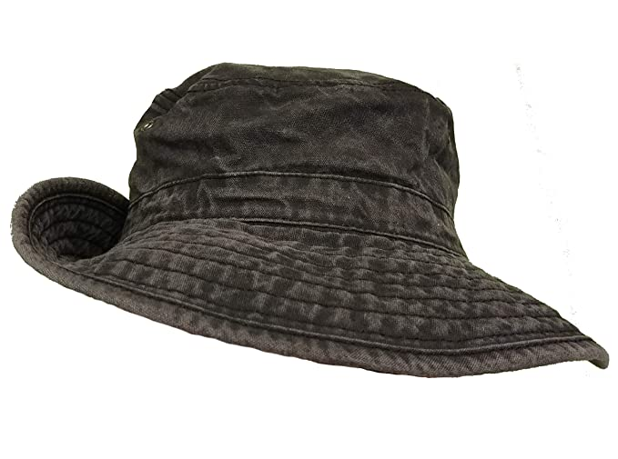 8877a321 Wide Brimmed Stonewash Cotton Boonie Hat for Hiking Fishing & Outdoors Sun  Protection (Black)