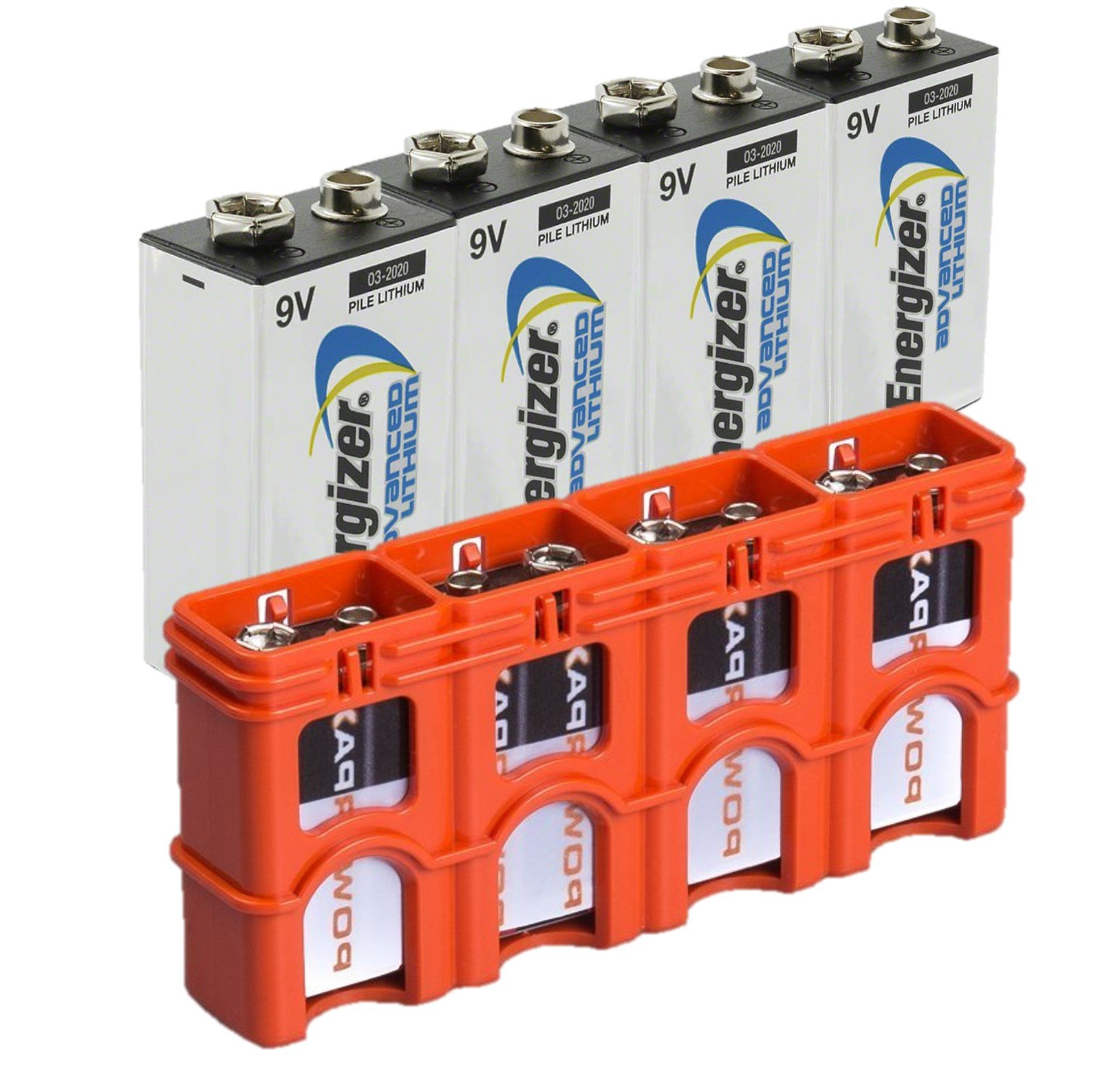 4 Energizer 9V Advanced Lithium Batteries LA522 with Powerpax 9 Volt Battery Cady