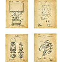 Camping Patent Wall Art Prints - set of Four (8x10) Unframed - wall art decor for camping fans