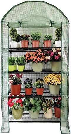 4 Tier Small Plastic Covered Mini Greenhouse Space Saver Propagating Greenhouses