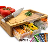 Bamboo Cutting Board With Trays and LIDS. Multi-functional: Comes with 4 Slicers and 4 draws can be used as PREP DISHES…