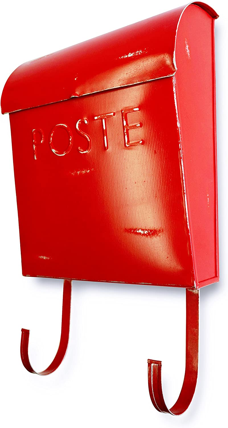 NACH TH-10042 French Euro Rustic Mailbox - Wall Mounted Post Box, Red, 12 x 11.2 x 4.5 inch