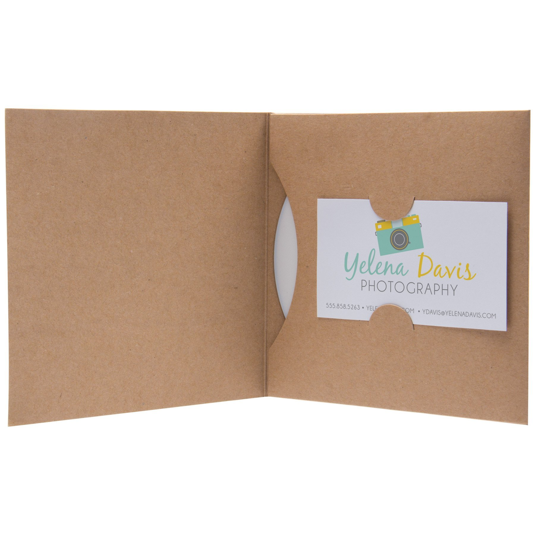 Paper CD or DVD and Business Card Holder Sleeve - 100 Pack (Kraft)