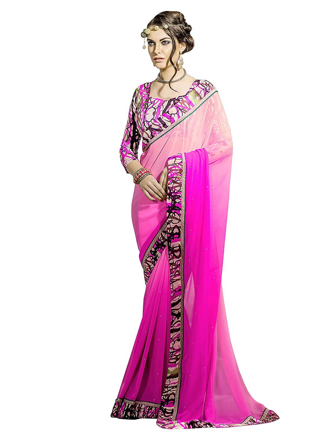 Shonaya Women`S Pink Colour Georgette Printed Saree with Unstitched Blouse Piece LALITHA-PINK
