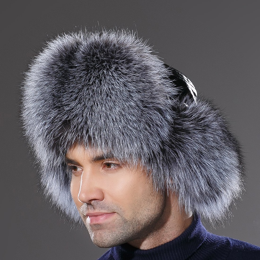 URSFUR Winter Russian Fur Hat Mens Real Silver Fox Fur Ushanka Trapper Cap by URSFUR (Image #6)