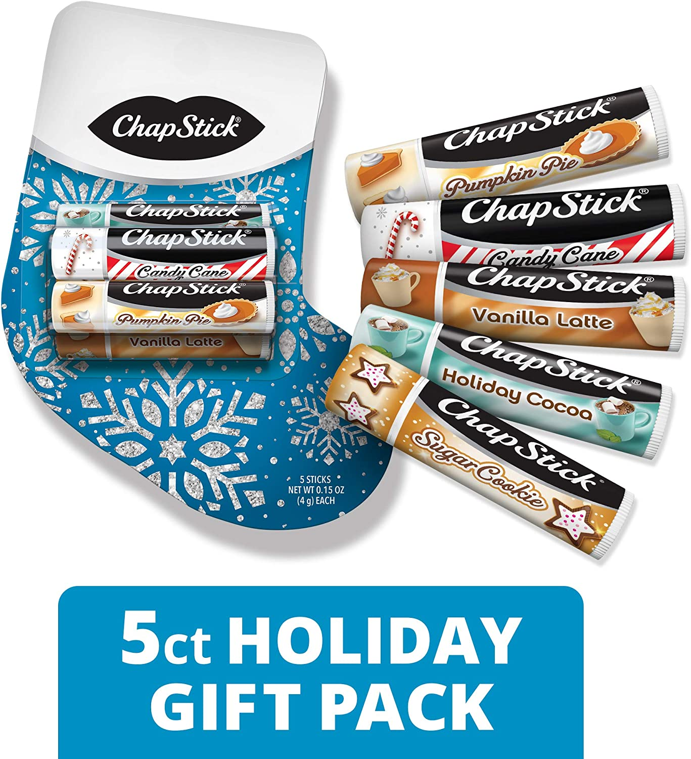 ChapStick Lip Balm Holiday Stocking Gift Pack (Assorted Flavors - Candy Cane, Holiday Cocoa, Sugar Cookie, Pumpkin Pie and Vanilla Latte, 0.15 Ounce, 5 Sticks), Lip Care, Moisturizer, Skin Protectant