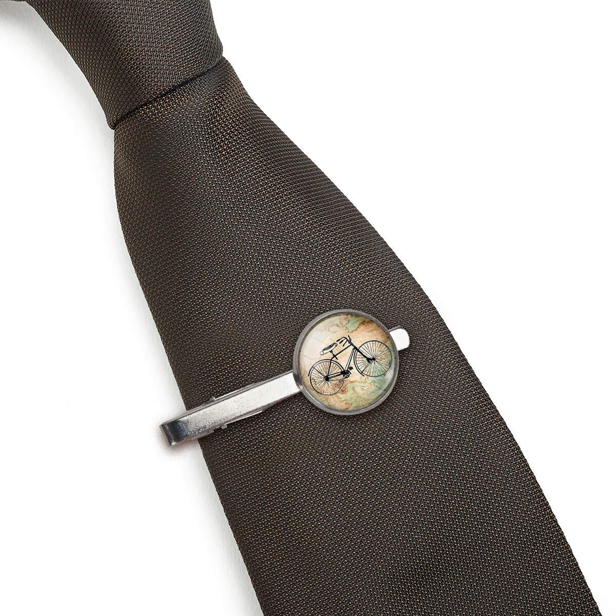 LooPoP Men Tie Clip Vintage Bicycle Map Stainless Tie Pins for Business Wedding Shirts Tie Clips Include Gift Box