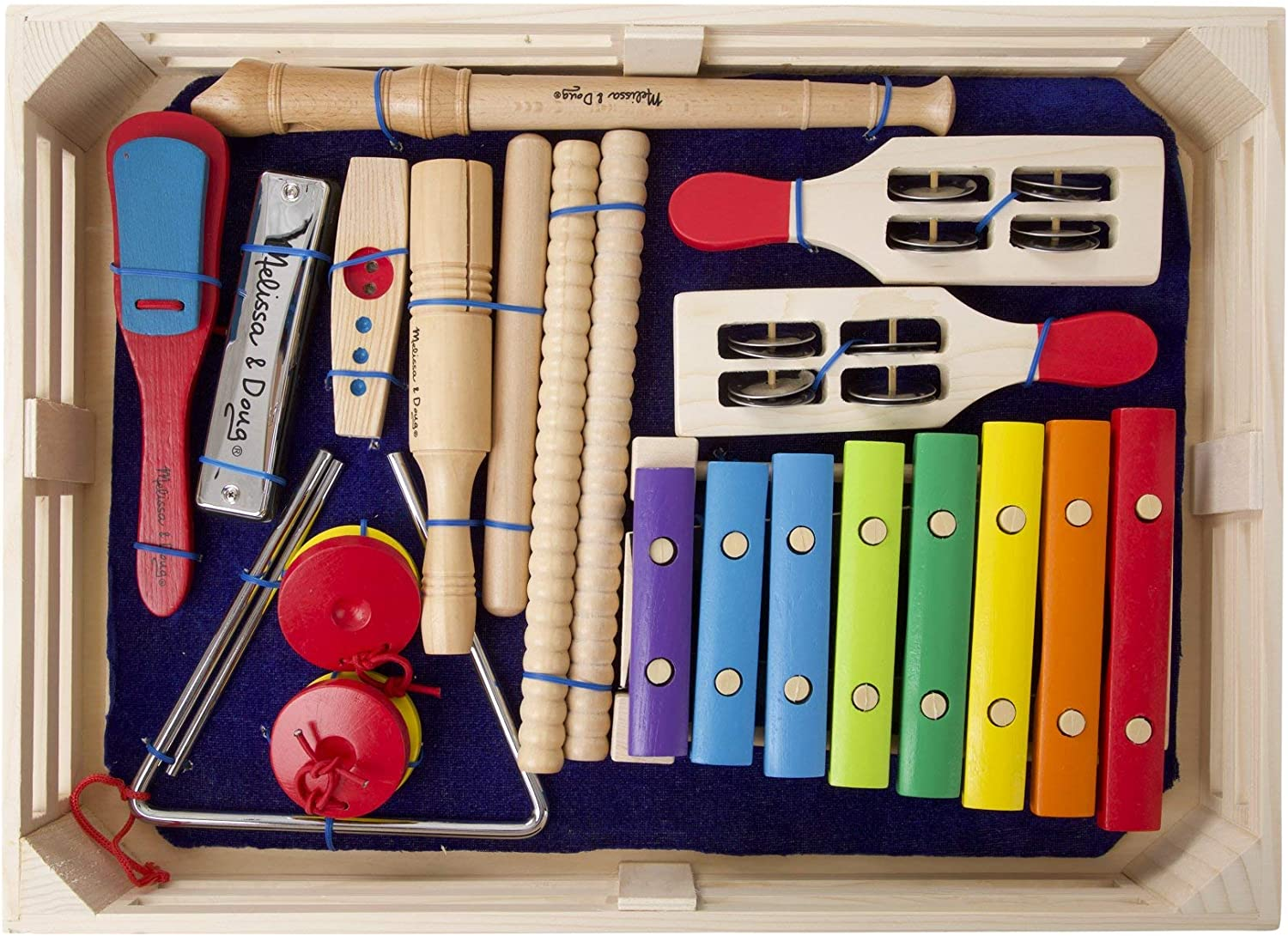 B00020V4Y4 Melissa & Doug Deluxe Band Set With Wooden Musical Instruments and Storage Case 81vYdaVhiTL