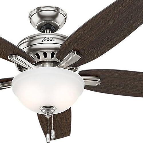 Hunter Fan 52 inch Brushed Nickel Ceiling Fan with Cased White Light Kit Renewed