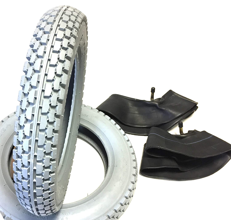 pneus profil/és bloqu/és 2 chambres /à air coud/é fauteuil /électrique de scooter fauteuil roulant pour scooter Lot de 2 pneus pour fauteuil roulant Gris 2.50-8 fauteu construction stable pneumatique avec Load Range B