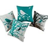 Set of 4 CaliTime Canvas Throw Pillow Covers Cases for Couch Sofa Home, Vintage Birds Tree Branches, 18 X 18 Inches, Black Teal