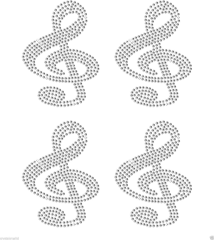 Strasssteinen CrystalsRus B/ügelbild mit 4 Musikschl/üsseln Blau