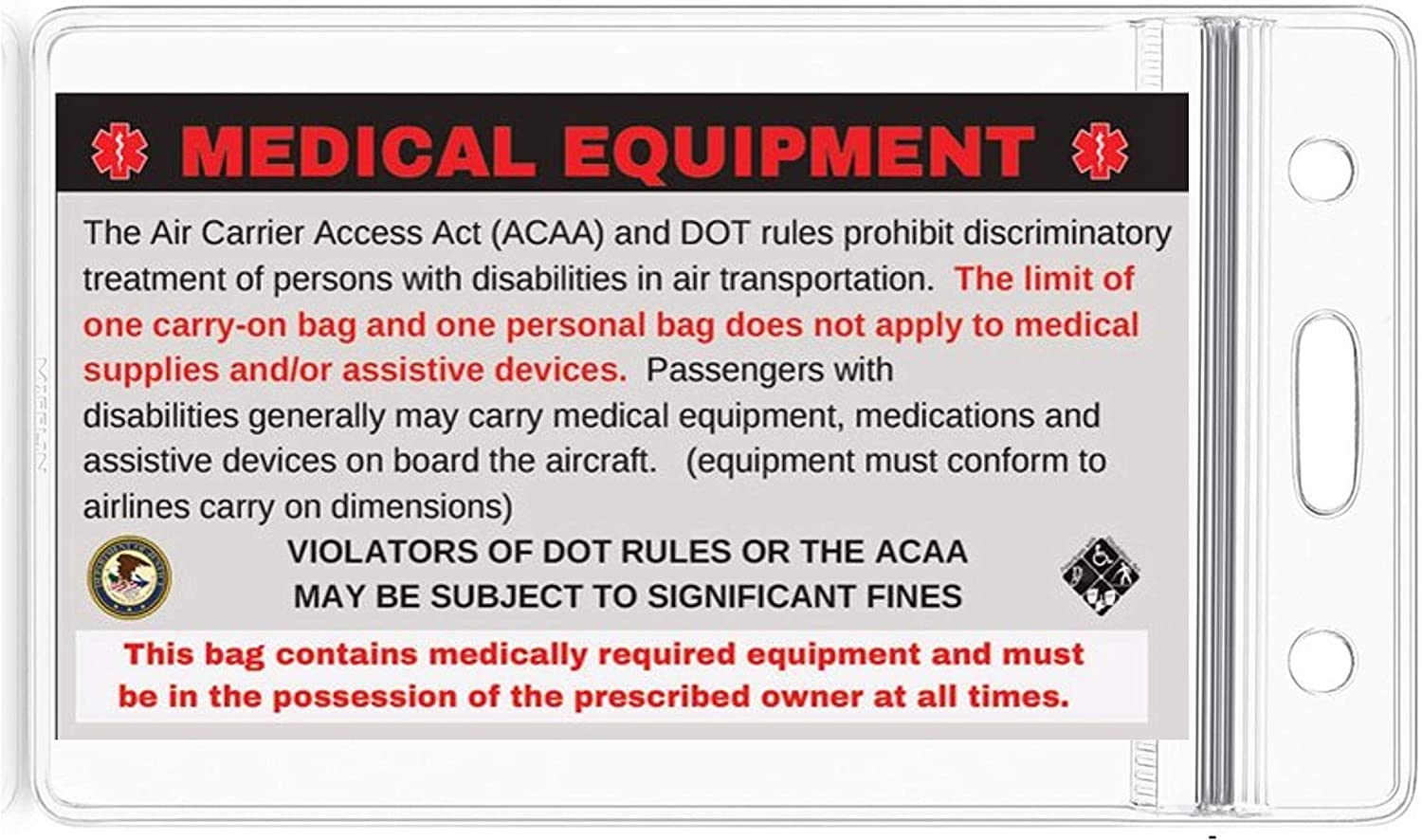 DOT and ACAA regulations MELT-112 Quantity 5 Medical Alert Equipment Luggage Tag Handle with Care