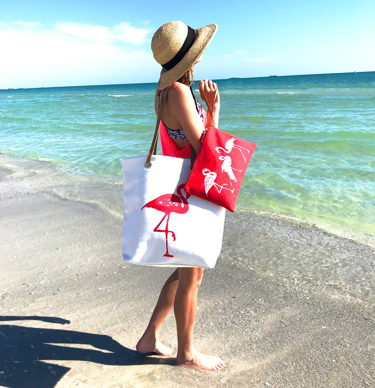 XL Large Cotton Canvas Flamingo Tote & Accessory Bag for Beach, Travel & Every Day by Kodi Lifestyle Collection (Image #2)