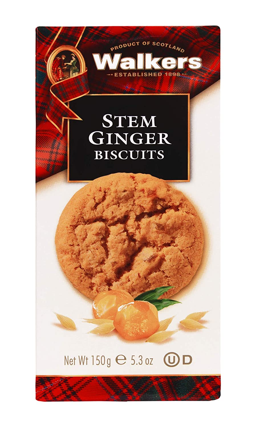 Walkers Shortbread Stem Ginger Scottish Cookies, 5.3 Ounce Box
