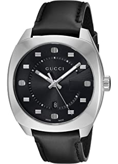 Gucci Swiss Quartz Stainless Steel and Leather Dress Black Mens Watch(Model: YA142307)