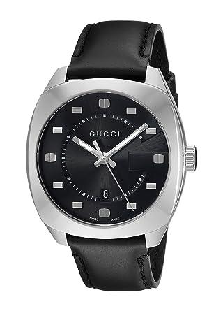 211e28dc4ea Amazon.com  Gucci Swiss Quartz Stainless Steel and Leather Dress Black  Men s Watch(Model  YA142307)  Watches