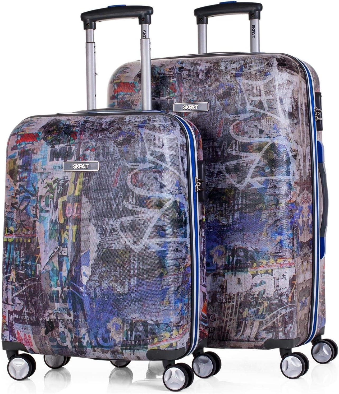 SKPAT - Juego Maletas Viaje Rígidas 4 Ruedas Trolley 55/70 cm ABS Estampado. Fuertes Resistentes y Ligeras. Asas y Candado. Pequeña Cabina y Mediana. Calidad y Diseño. 53900, Color Gris Oscuro