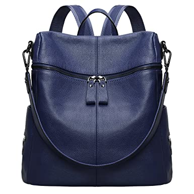 85fd861cfbb0 Amazon.com  S-ZONE Women Genuine Leather Backpack Casual Shoulder Bag Purse  Medium (Blue)  Clothing