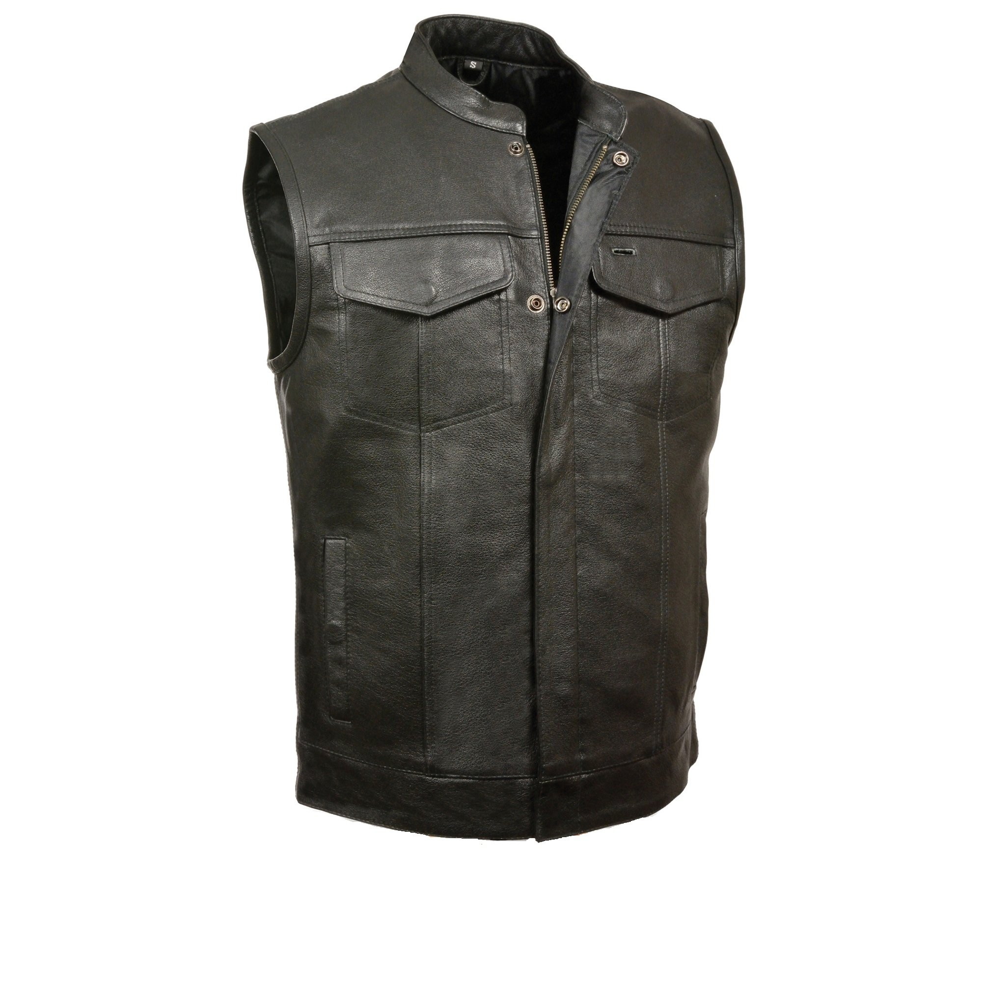 SOA Men's Basic Leather Motorcycle Vest Zipper & Snap Closure w/2 Inside Gun Pockets & Single Panel Back (Large, 1'' Collar)