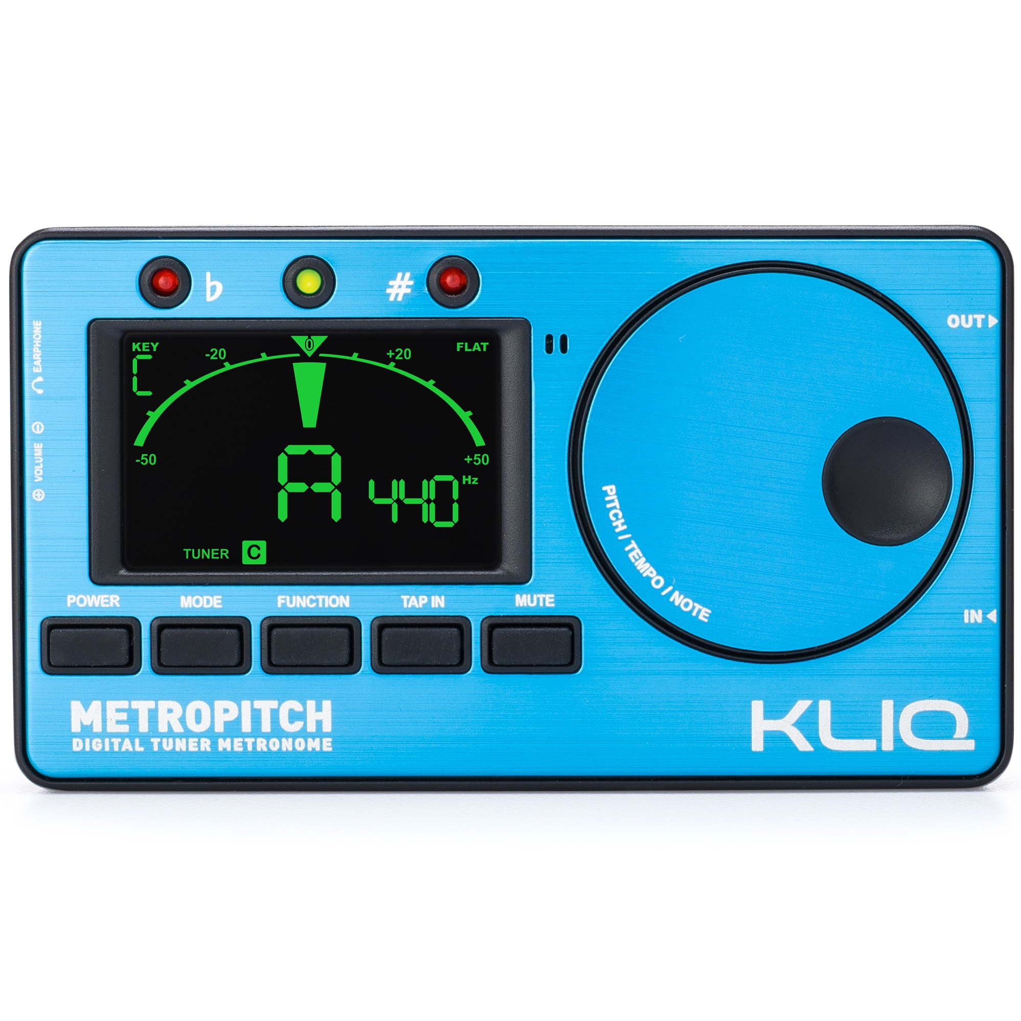 KLIQ MetroPitch - Metronome Tuner for All Instruments - with Guitar, Bass, Violin, Ukulele, and Chromatic Tuning Modes - Tone Generator - Carrying Pouch Included, Blue