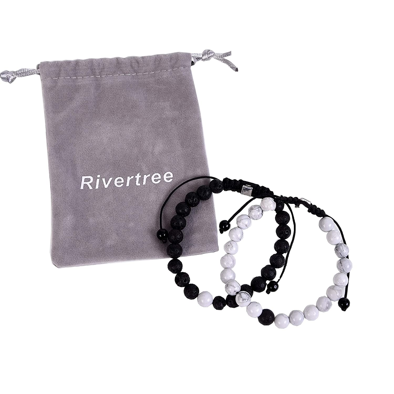 Black and White Distance Bracelets for Couples and Best Friend - Natural Lava Howlite Sone beads with Braided Rope Adjustable RIVERTREE 21210