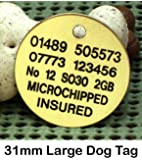 Spoilt Rotten Pets Large 31mm Round Disc. FOR LARGE DOGS ENGRAVED BRASS Dog Tag Identity Pet Tag.