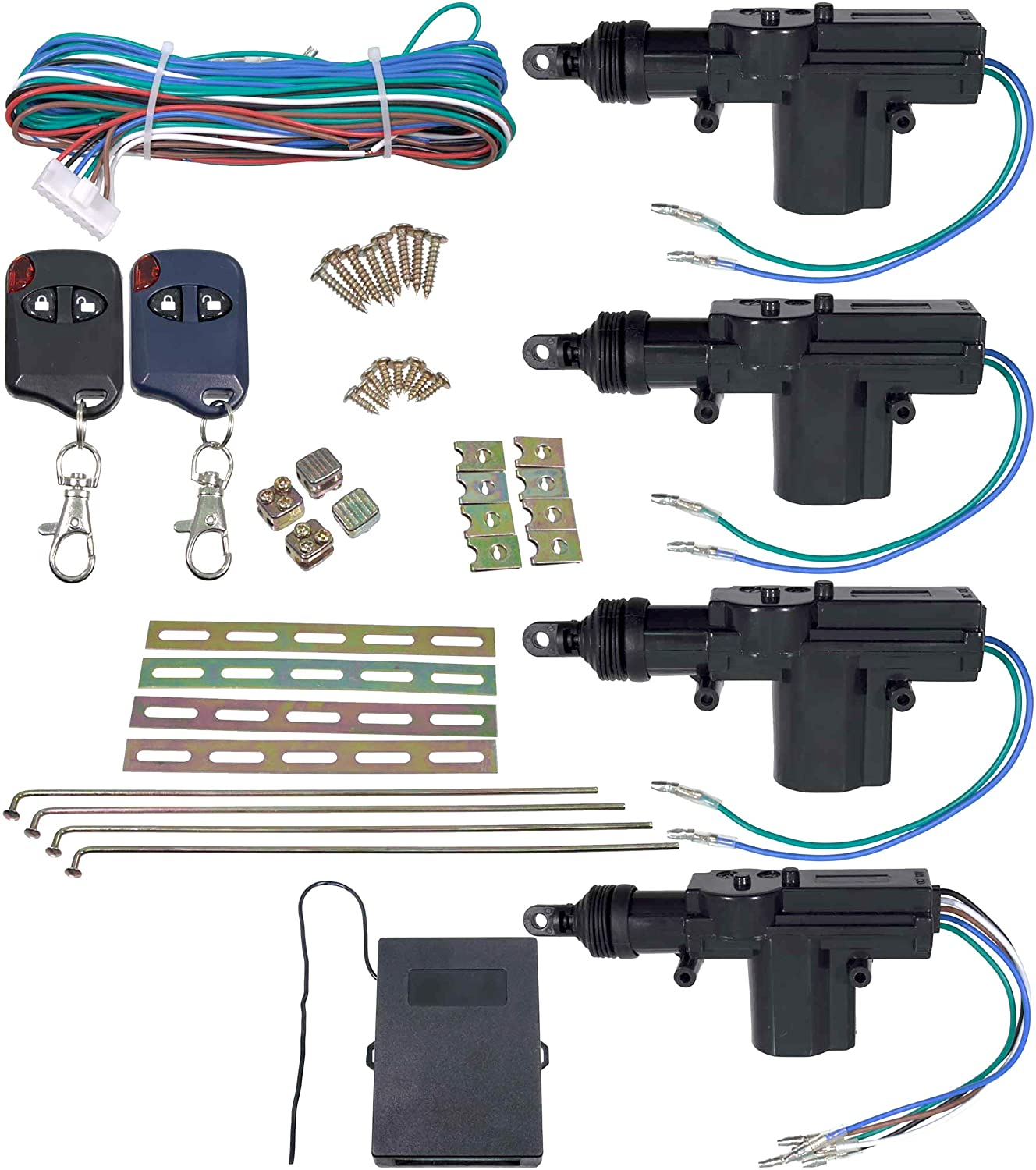 APDTY 133785 Universal Keyless Entry Remote Key Fob Door Lock Actuator Kit