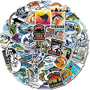 50 Pcs Cool Funny Go Fishing Stickers for Laptop Stickers Motorcycle Bicycle Skateboard Luggage Decal Graffiti Patches Stickers (Bass)