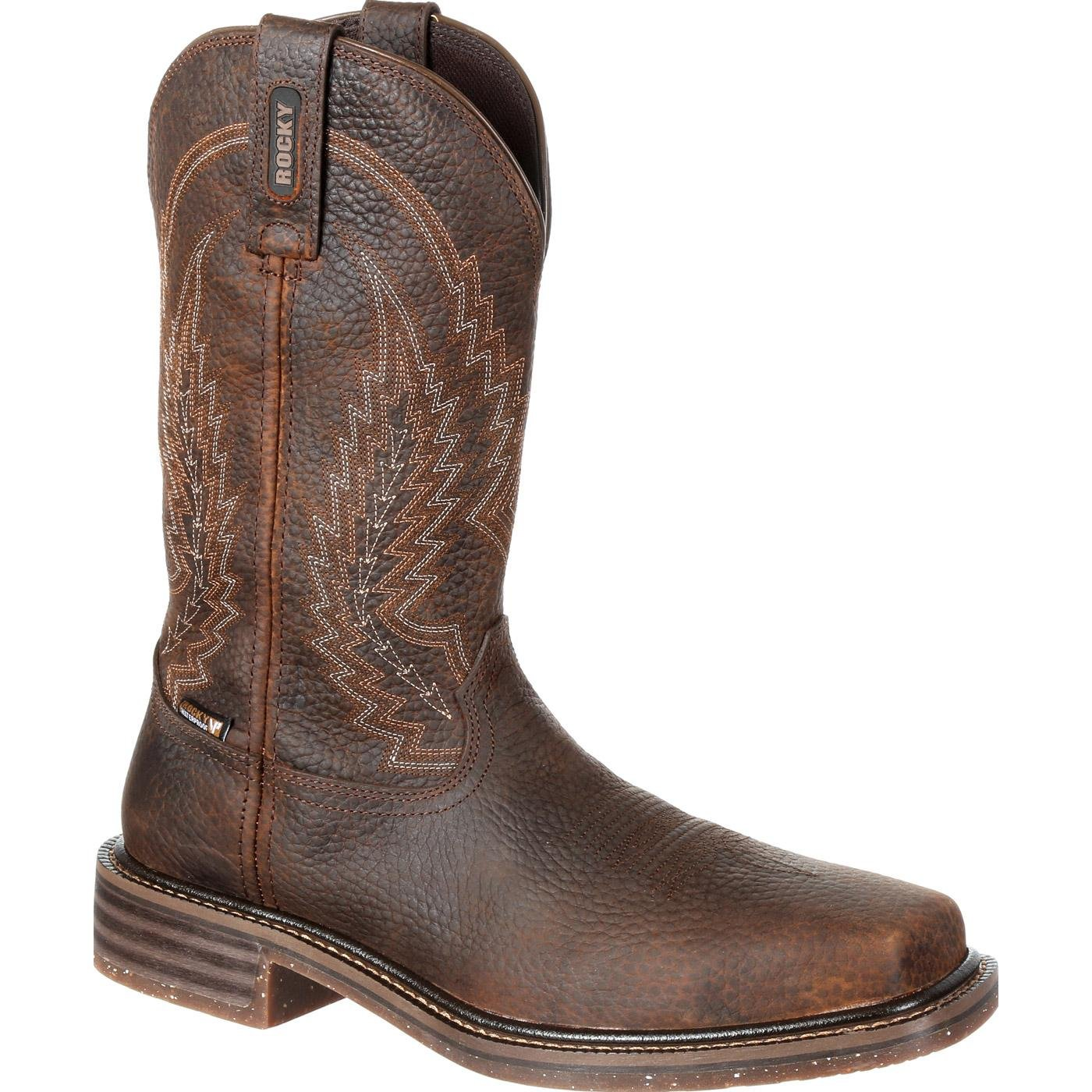 Rocky Western Boots Mens Riverbend 12'' Waterproof 12 W Dark Brown RKW0228 by ROCKY