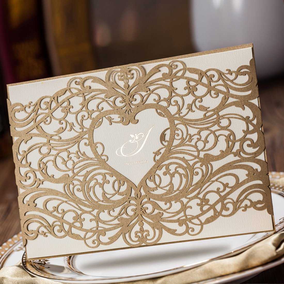 Amazon.com: WISHMADE Laser Cut Invitations Cards Sets Gold 50 ...