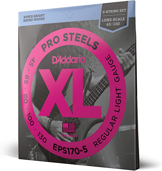 D'Addario EPS170-5 5-String ProSteels Bass Guitar Strings